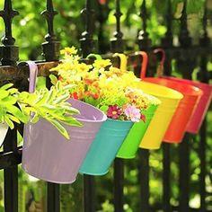 Metal Flower Pots Hanging Balcony Planter Plant Pot Patio Fence Garden Decor #deals #discounts Hanging Plants Outdoor, Hanging Flower Pots, Hanging Planters, Indoor Outdoor, Indoor Garden, Outdoor Ideas, Outdoor Gardens, Outdoor Living, Balcony Planters