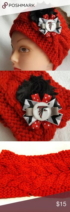 """Atlanta Falcons Headband Falcons Football NFL You will receive exactly what is pictured.  Handmade item from Issaquah, WA, USA. Item is 100% acrylic, exclusive of flowers and ribbon.  Approximate height is 4"""" tall. Material is stretchy and one size fits most women.  Product Care Instructions: Hand wash in cold water. Lay flat to dry, do not wring. Recommended to just spot clean as needed.  This item includes small parts/pieces, keep out of the reach of children. Headband is for teens, young…"""