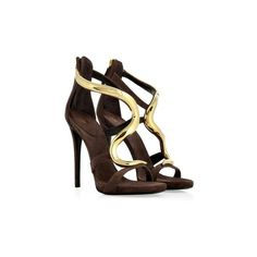 Cacao Suede Sandals with Sculptural Gold-Toned Metal... - ELLE - Shop ❤ liked on Polyvore