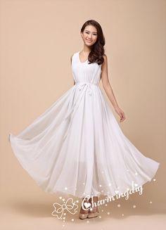 White Long Evening Wedding Party Dress Lightweight
