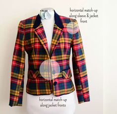 Plaid Jacket Chronicles: Match-ups- what parts of plaid must line up and which ones might not. Sewing Hacks, Sewing Tutorials, Sewing Tips, Sewing Ideas, Techniques Couture, Sewing Techniques, Plaid Jacket, Different Fabrics, Plaid Pattern