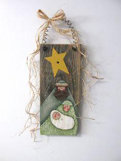 Arte popular Natividad, Tole o pintadas sobre madera de granero, Natividad…