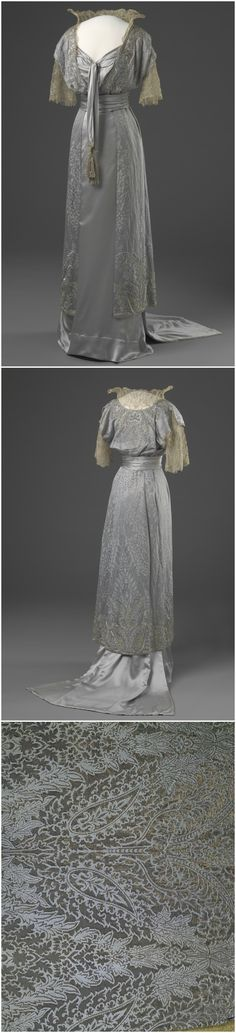 Evening dress belonging to Queen Maud of Norway. London, United Kingdom. 1913-14. Machine-woven silk satin fabric, weave pattern of silk and metal thread, silk fabric in plain weave, hand-embroidered with silk thread, glass beads and artificial diamonds; silver lace. The National Museum of Art, Architecture and Design, Oslo. Via DigitaltMuseum (link: http://digitaltmuseum.no/011062311987?name=Kjole&advanced_search=1&owner_filter=NMK-D&pos=12&count=127)