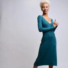 Black Independent Designers African American Clothing, Work Attire, Teal, High Neck Dress, Neckline, Stylish, Sweaters, Badger, Dot Dress