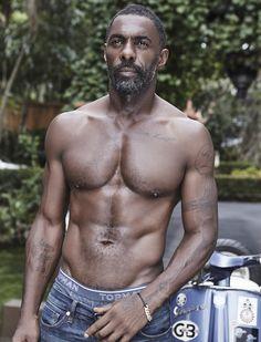 Idris Elba in all his shirtless glory Men In Black, Hot Black Guys, Gorgeous Black Men, Handsome Black Men, Beautiful Men, Hot Guys, Poses References, Raining Men, African Men