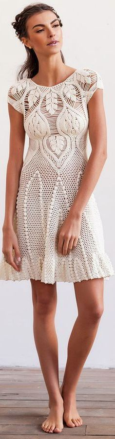 white cream leaf mini crochet dress @roressclothes closet ideas #women fashion outfit #clothing style apparel