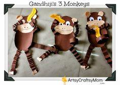 Gandhi 3 monkey craft | Gandhi Jayanti   Monkey craft with Free printable | India Crafts FreePrintable Craft Classes Animal Crafts Age5 7 Age3 5