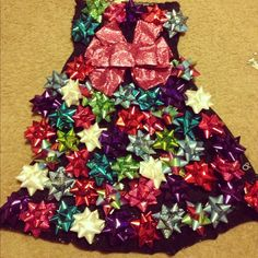 Tacky bow dress instead of a ugly Christmas sweater, great party idea!!