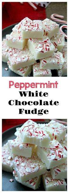 Easy homemade fudge! No sweetened condensed needed. This Peppermint-White Chocolate Fudge is smooth, creamy and so tasty. It's the perfect holiday treat!