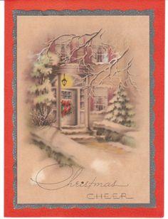 1943 vintage Christmas card - doorstep with wreath