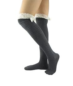 NOVAWO Women's Crochet Lace Knee High Socks Boot Socks with Bow ** Visit the image link more details.