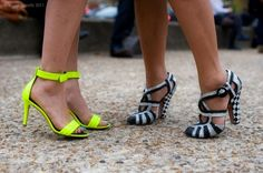 Ocean Drive Miami: Art deco inspired and neon shoes - very appropriate for South Beach The most sparkling destination! Crazy Shoes, Me Too Shoes, Neon Shoes, Colorful Heels, Black And White Shoes, Shoes World, Summer Shoes, Chic, Yellow