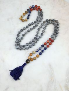 Triple Dipped Crazy Lace Agate Mala