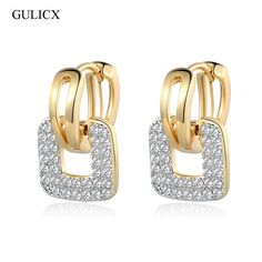 2.54$  Buy here - GULICX Brand 2017 Unique Square Shaped Piercing Small Huggie Hoop Earring for Women Gold-color Earing Round CZ Jewelry E218   #shopstyle