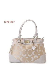 Coach Classic Signature Printed Fabric Leather Buckel Tote Sand