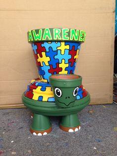 Terra cotta pot craft turtle  Autism awareness