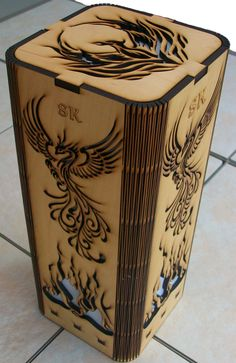 Personalized Phoenix Rising laser cut, laser engraved lamp. Avalilable at my…