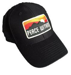 606aa0f504c Peace Within Black trucker hat mountain sun logo Black Trucker Hat