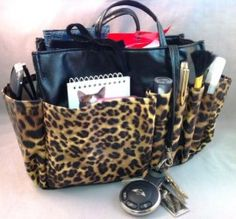 3-6 Days Delivery- Jolie Large Leopard Print and Black Pleather Handbag Organizer Tote Travel Cosmetic Make-Up Bag Very Lightweight Insert Dimensions: L 9.5:x H 7:x W 4.5: