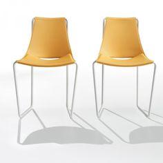 Sedia con struttura acciaio e seduta cuoio Apelle S - Midj