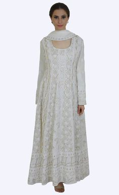 Cream Chikankari And Gota Patti Anarkali Pure Georgette Suit
