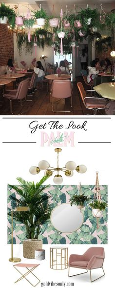 Find out how to create a vintage bohemian glam look inspired by London restaurant café Palm Vaults. With a scheme of green and blush pink, brass accents, velvet and natural materials such as rattan.