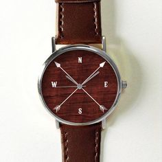 Montre femme montres cuir montre Vintage Style brossé lasure rouge cadeau personnalisé Compass flèche montre Cardinal Directions hommes