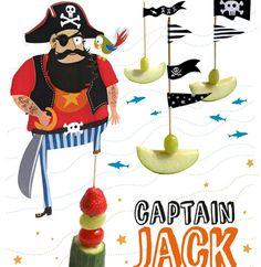 Traktaties – Piratentraktatie Captain Jack met truc om de appel groen te houden (heb ik niet uitgetest).