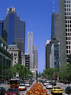 Magnificent Mile/ Michigan Avenue  Chicago.  Scenic, great shopping and lots of people.
