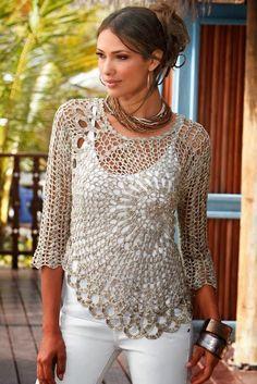 Patrón #1205: Blusa a Crochet | CTejidas [Crochet y Dos Agujas]