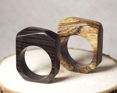 Bague en résine et bois anneau en bois bijoux en bois bague