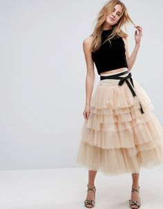 4ee1cae59ef3 ASOS Tulle Midi Prom Skirt with Tiers and Tie Waist - Pink Tulle Nederdele