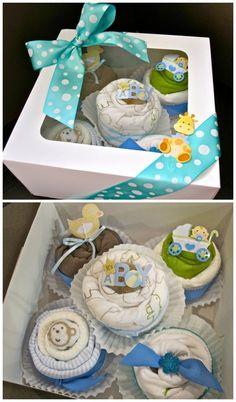 Cupcakes. | 31 Diaper Cake Ideas That Are Borderline Genius