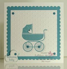 www.kathleenstamps.com - Isn't this the cutest card for a new baby?  I made it using the new Stampin' Up! Something for Baby stamp set and its matching Big Shot Baby's First Framelits die.  For additional information about this card and many others please visit my blog at:  www.kathleenstamps.com.  Thank you for taking time to PIN my card!