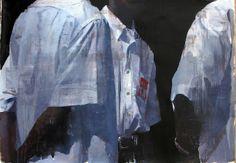 """François Bard, Conversation, 2014, Oil on Paper, 29½"""" x 41¾"""" #Art"""