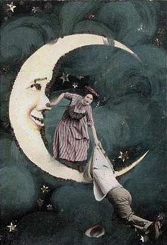 Falling off a paper moon ~ Vintage photo
