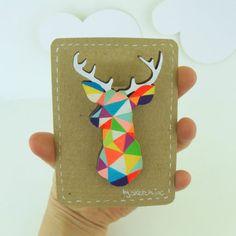 Geometric Deer Brooch Neon 'Stag Head' by SketchInc on Etsy, £7.20