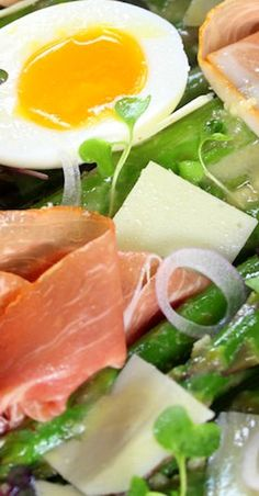 Asparagus Salad with Prosciutto, Soft Poached Eggs and a Dijon Vinaigrette