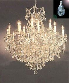 "Maria Theresa Crystal Chandelier Lighting Chandeliers Dressed with Diamond Cut Crystal! H 38"" W 37"" - Finish: Matte Silver"