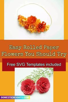 paper flower bouquet free svg and printable PDF templates, cricut flowers Rolled Paper Flowers, How To Make Paper Flowers, Paper Flower Tutorial, 3d Paper, Rolls, Bouquet, Cricut, Printable, Pdf