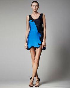 STELLA MCCARTNEY Blue Embroidered Colorblock Dress