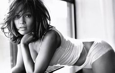 Jennifer Lopez (JLo) - Boudoir Photography - Lingerie - Black and White (Pose)