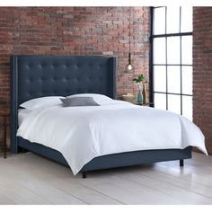 Button tufted Queen Wingback Bed - Overstock™ Shopping - Great Deals on Beds