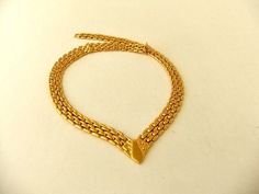 Monet Gold Tone Panther Link V Necklace by ediesbest on Etsy, $13.95
