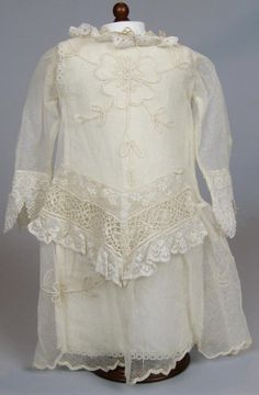 Antique Net Lace Doll Dress for your Antique German or French Bebe Doll