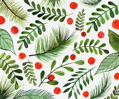 Margaret Berg Art: Berries, Holly & Pine