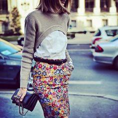 Chic @sarahrutson #style #styling #stylish #fashion #fashionable #skirt #blossoms #floral #flowers #bag #valentino #luxury #hair #sarahrutson #cool #icon #girl #street #streetstyle #streetfashion #luxuryfashion