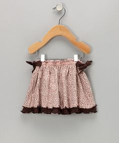 pink and chocolate ruffle skirt