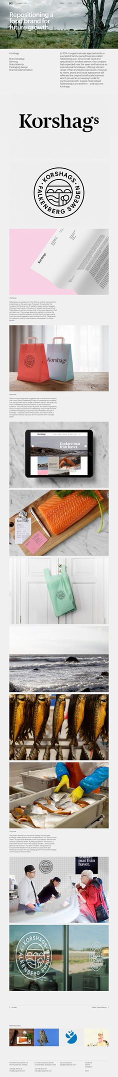 In 2014, Kurppa Hosk was approached by a successful family-owned business called Falkenbergs Lax. Once small, local and specialized in smoked salmon, the company had expanded over the years and become an international food player. However, its name, brand and visual appearance still reflected the original small-scale business. Kurppa Hosk helped Falkenbergs Lax transform – and become Korshags. #Brandstrategy #Naming #Brandidentity #Packagingdesign #Brandimplementation