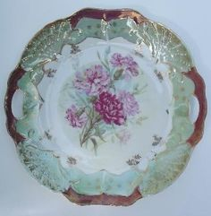 Pink Carnations Gold & Luster Antique China Plate with Handles, possibly from Germany